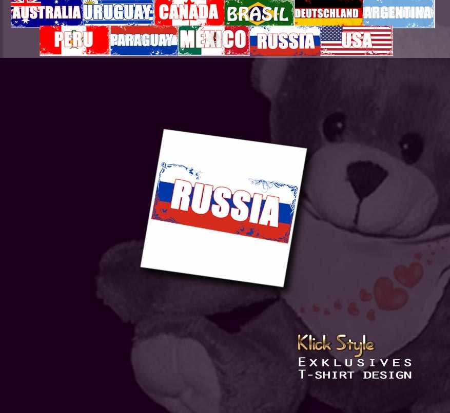"""Plüschtier - Teddy """"Flagge [Diverse Länder]"""" : Länder:Russia"""