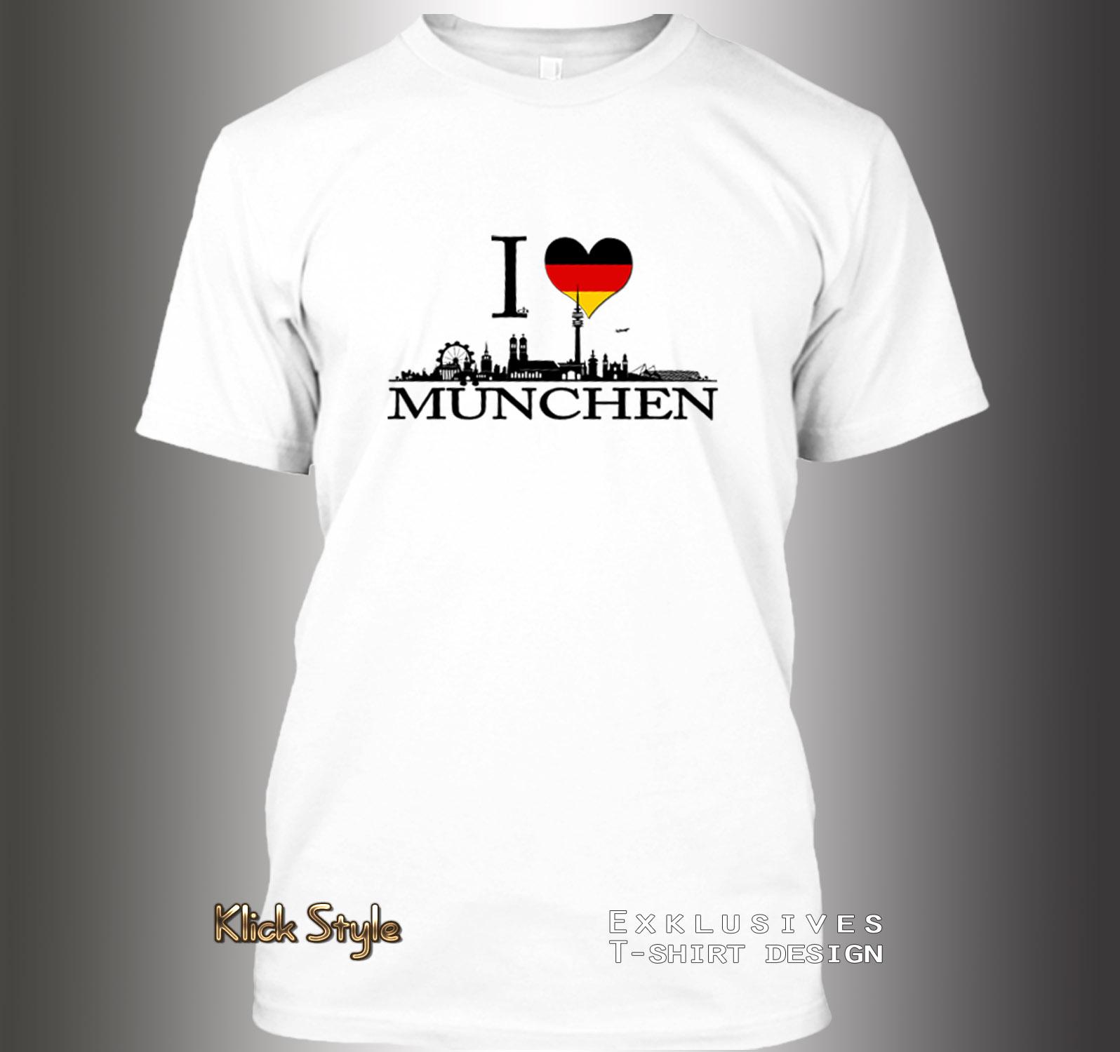 """T-Shirt """"Ich liebe [Stadt]"""" (Berlin, Stuttgart, München, Wiesbaden, Potsdam, Kiel, Erfurt, Leipzig, Düsseldorf) : Größe:XS, Stadt:München"""