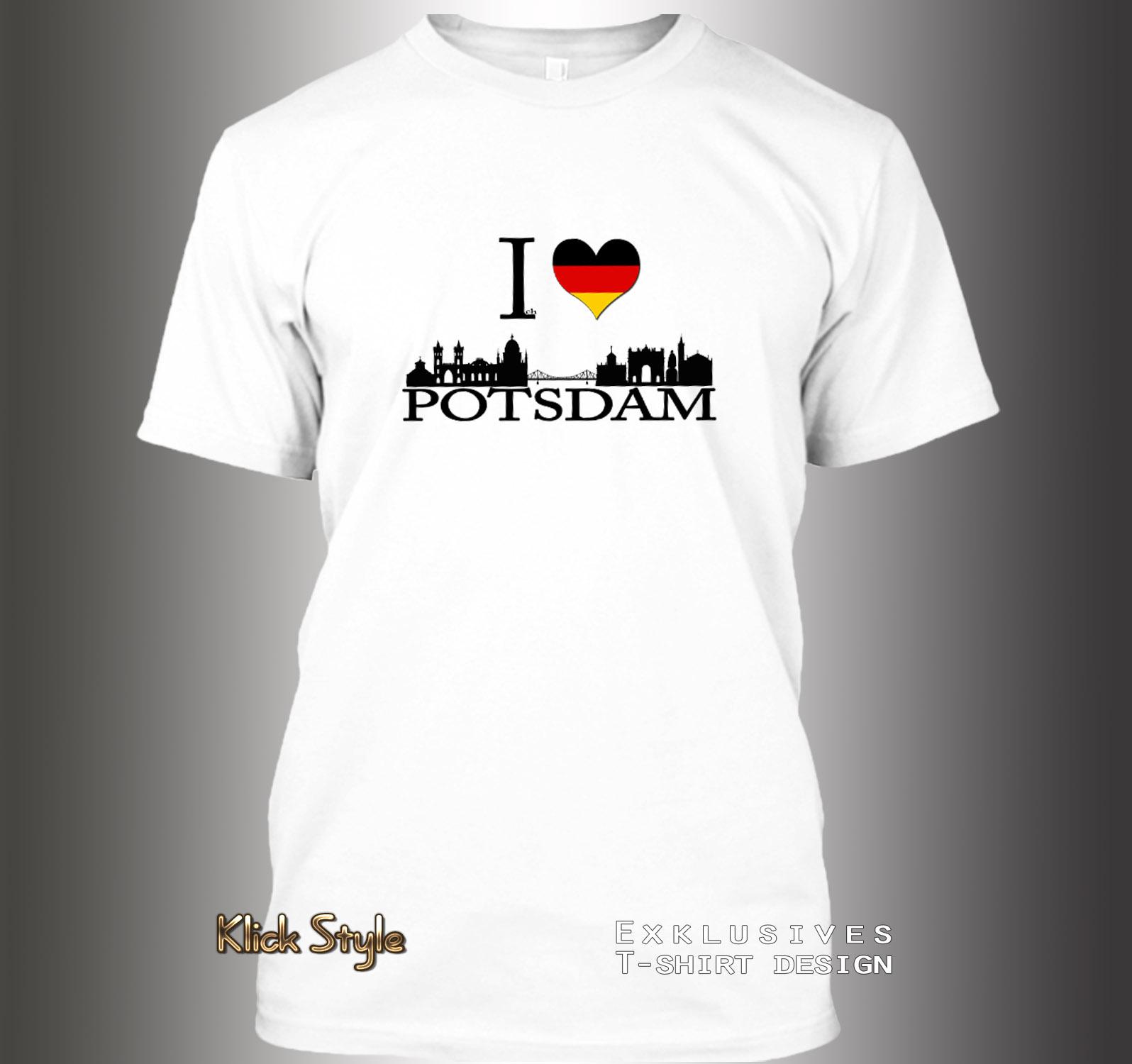 """T-Shirt """"Ich liebe [Stadt]"""" (Berlin, Stuttgart, München, Wiesbaden, Potsdam, Kiel, Erfurt, Leipzig, Düsseldorf) : Größe:XS, Stadt:Potsdam"""