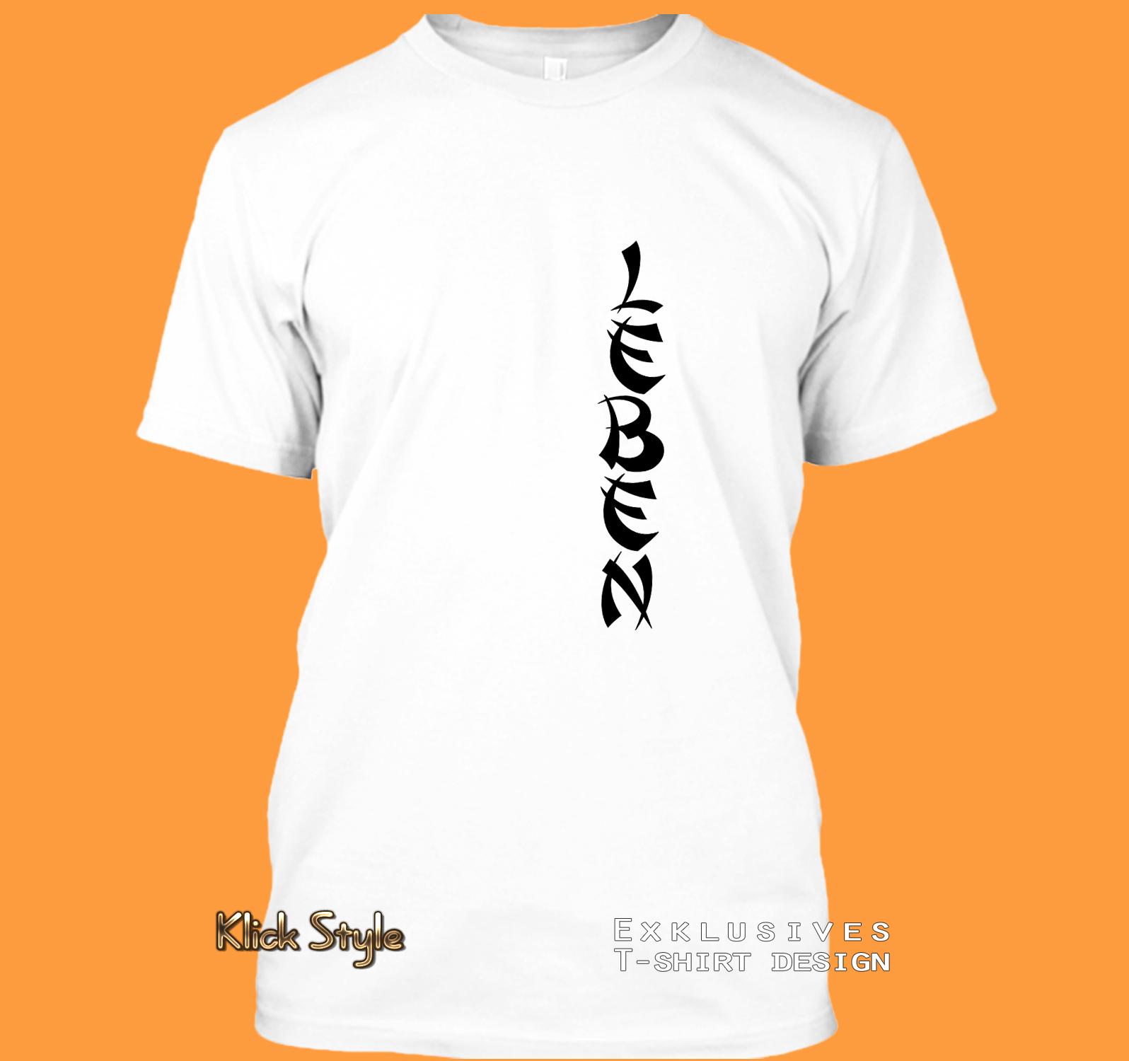 """T-Shirt Text """"Freude"""" / """"Liebe"""" / """"Hoffnung"""" / """"Leben"""" / """"Kraft"""" : Größe:XS, Text:Leben"""