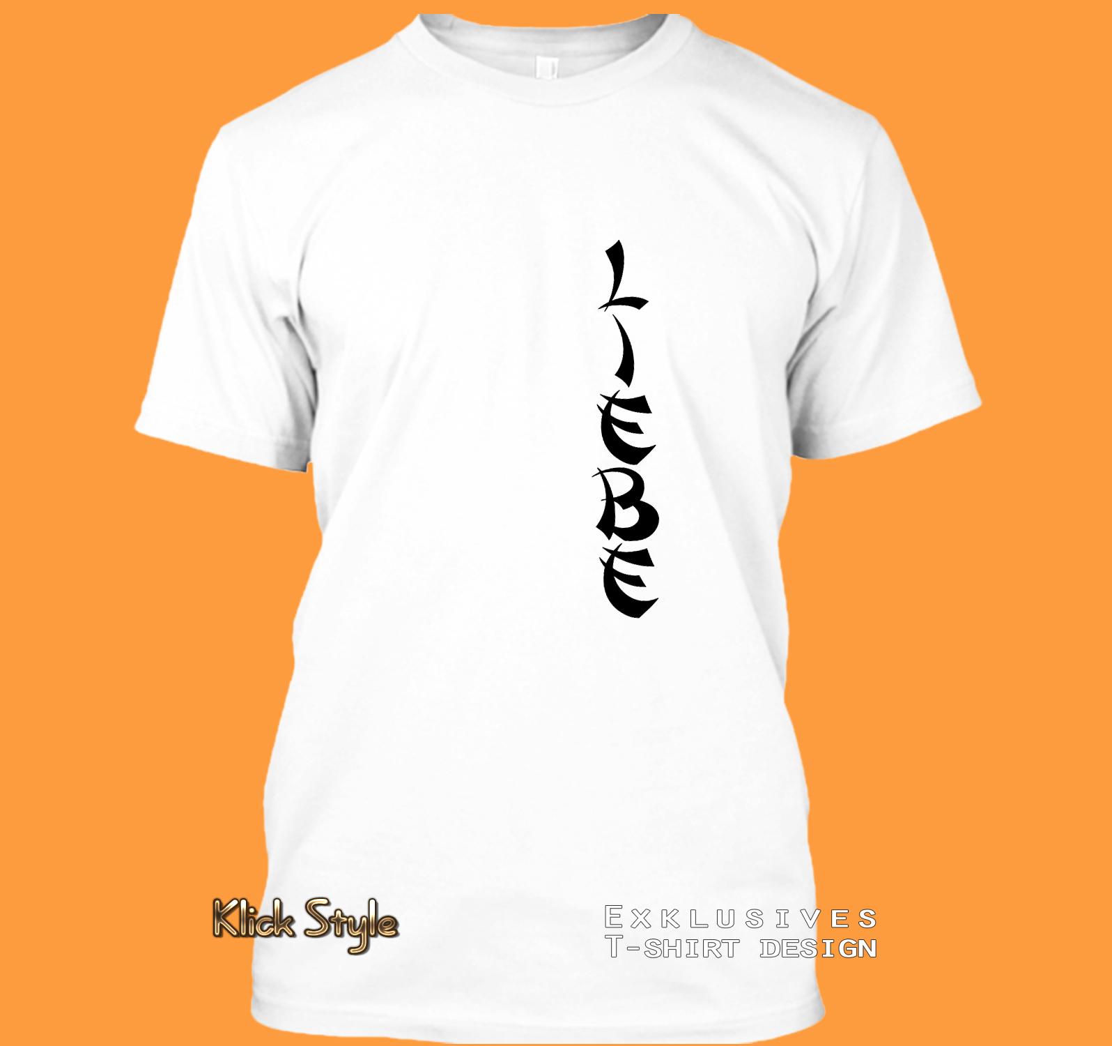 """T-Shirt Text """"Freude"""" / """"Liebe"""" / """"Hoffnung"""" / """"Leben"""" / """"Kraft"""" : Größe:XS, Text:Liebe"""