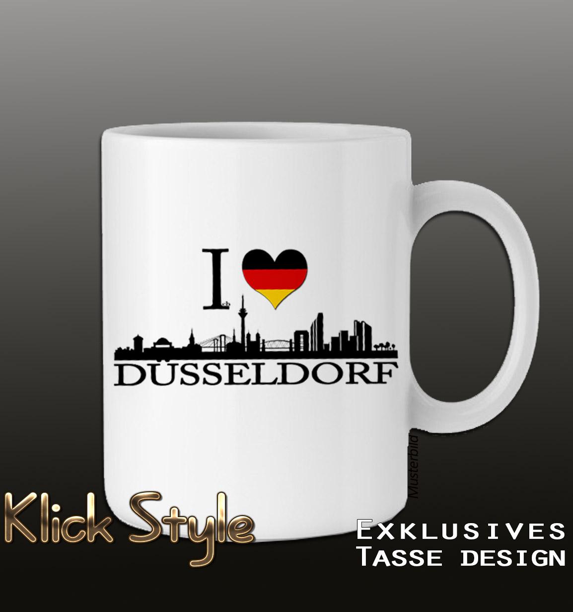 """Tasse """"Ich liebe [Stadt]"""" (Berlin, Stuttgart, München, Wiesbaden, Potsdam, Kiel, Erfurt, Leipzig, Düsseldorf) : Farbe:Weiss, Stadt:Düsseldorf"""