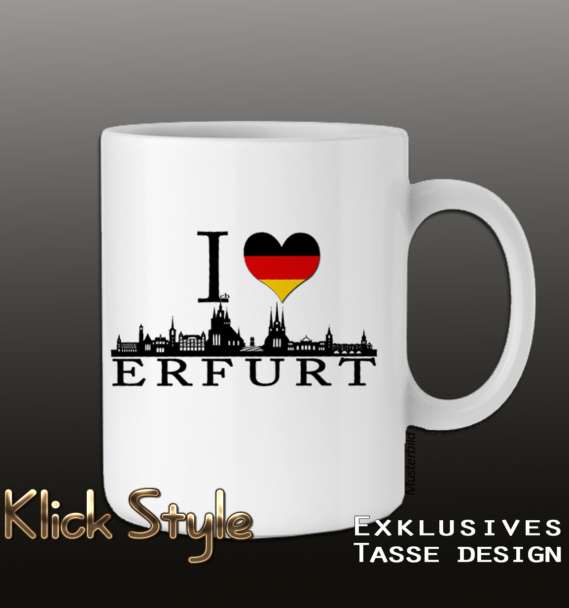 """Tasse """"Ich liebe [Stadt]"""" (Berlin, Stuttgart, München, Wiesbaden, Potsdam, Kiel, Erfurt, Leipzig, Düsseldorf) : Farbe:Weiss, Stadt:Erfurt"""