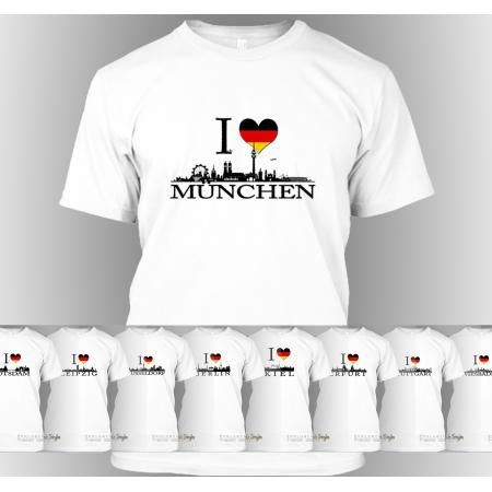 """T-Shirt """"Ich liebe [Stadt]"""" (Berlin, Stuttgart, München, Wiesbaden, Potsdam, Kiel, Erfurt, Leipzig, Düsseldorf)"""