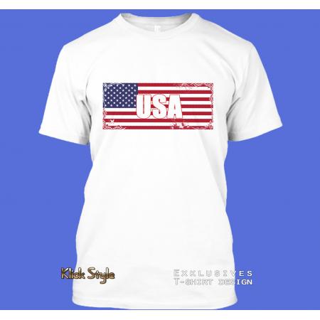 "T-Shirt Wort auf Flagge ""USA"""