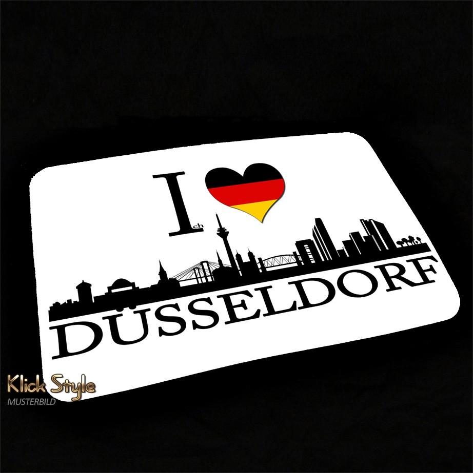 """Mousepad """"Ich Liebe (Stadt)"""" [Düsseldorf, Berlin, Stuttgart, München, Leipzig, Wiesbaden, Potsdam, Kiel, Erfurt] : Motiv:Ich liebe Düsseldorf"""