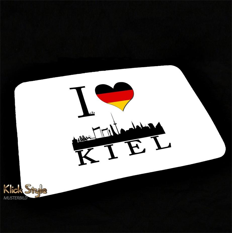 "Mousepad ""Ich Liebe (Stadt)"" [Düsseldorf, Berlin, Stuttgart, München, Leipzig, Wiesbaden, Potsdam, Kiel, Erfurt] : Motiv:Ich liebe Kiel"
