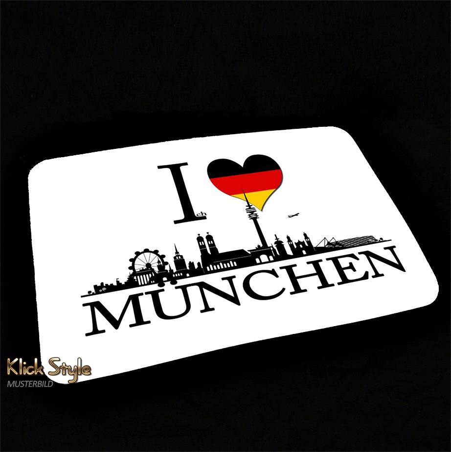 """Mousepad """"Ich Liebe (Stadt)"""" [Düsseldorf, Berlin, Stuttgart, München, Leipzig, Wiesbaden, Potsdam, Kiel, Erfurt] : Motiv:Ich liebe München"""
