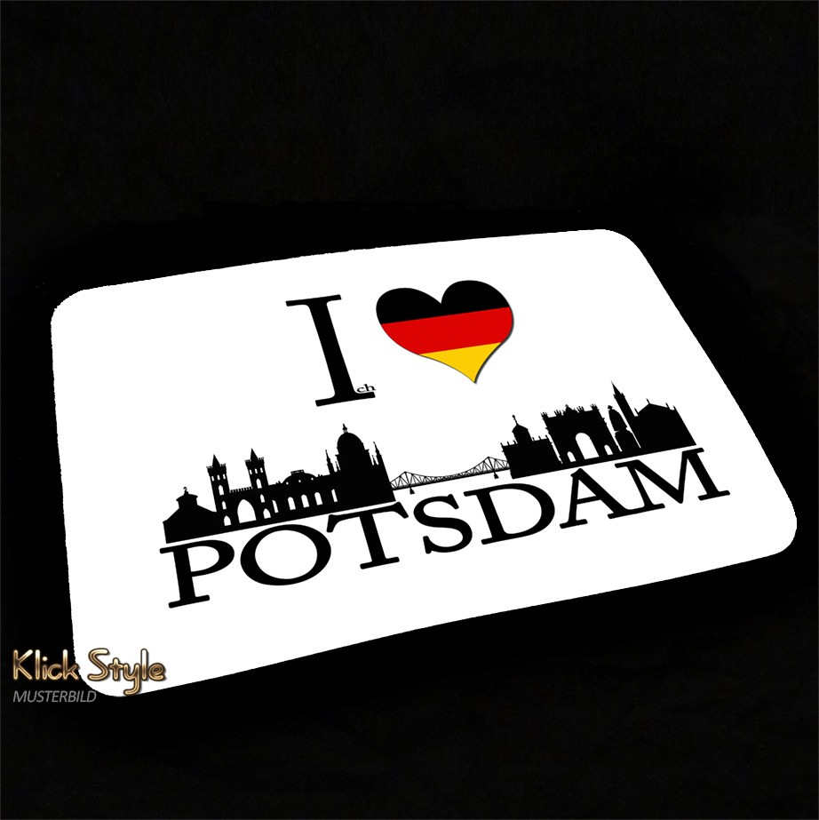 "Mousepad ""Ich Liebe (Stadt)"" [Düsseldorf, Berlin, Stuttgart, München, Leipzig, Wiesbaden, Potsdam, Kiel, Erfurt] : Motiv:Ich liebe Potsdam"