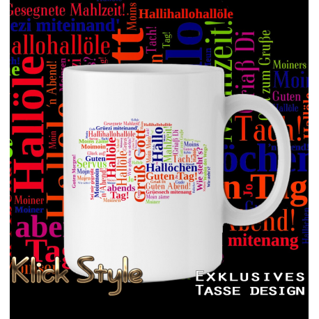 "Tasse Wordcloud ""Begrüßung"""