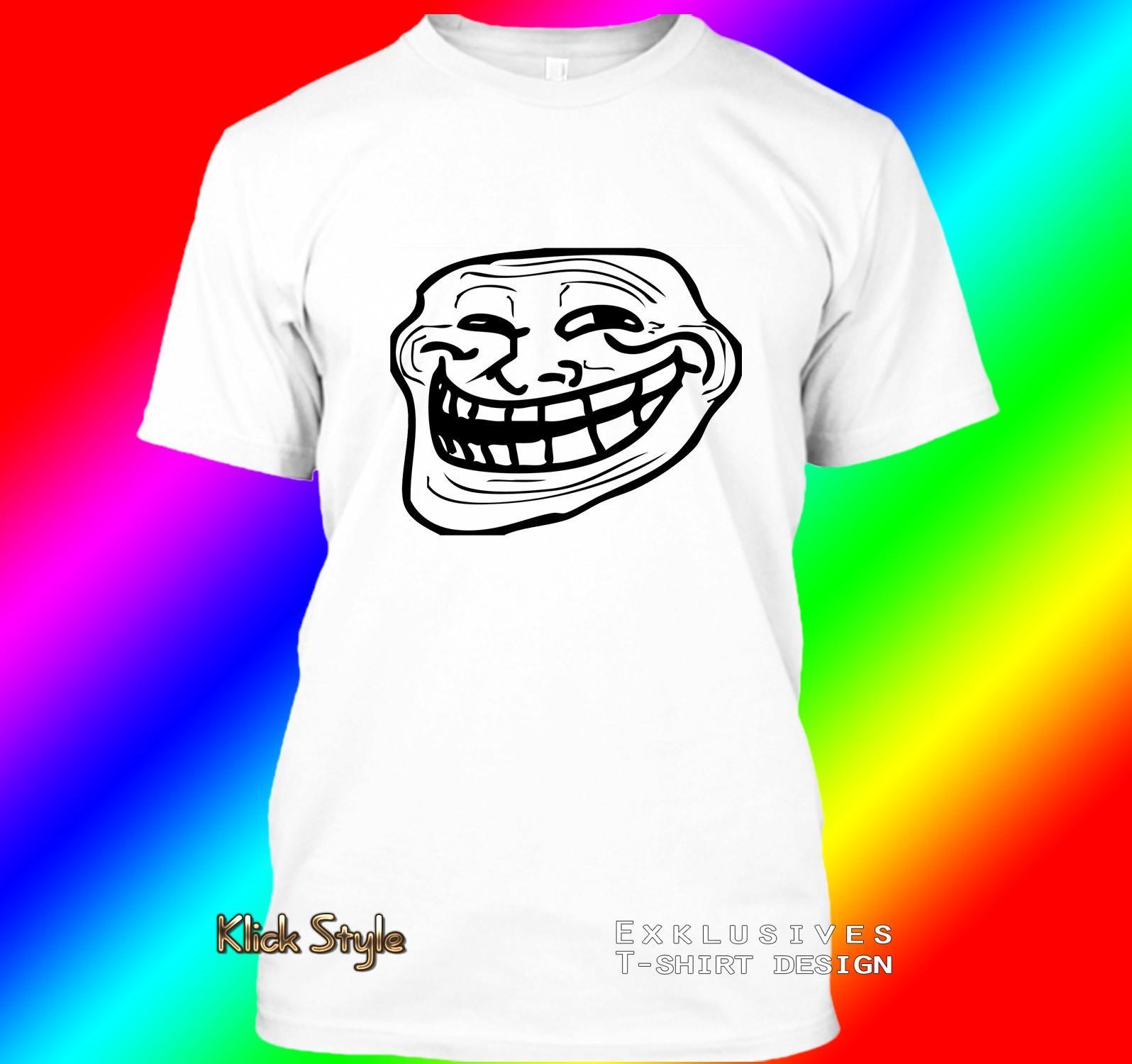 """T-Shirt """"Memes"""" (Diverse Memes, weiß) : Größe:S, Motiv:Troll Face"""
