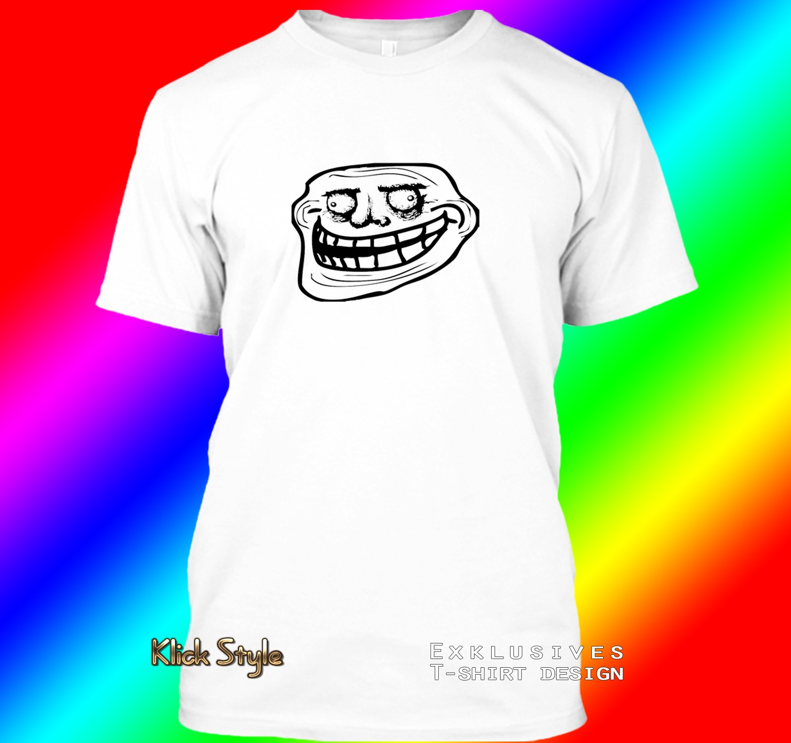 "T-Shirt ""Memes"" (Diverse Memes, weiß) : Größe:S, Motiv:Troll Gusta"