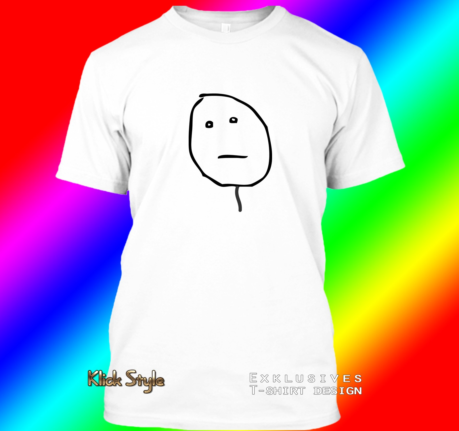"""T-Shirt """"Memes"""" (Diverse Memes, weiß) : Größe:S, Motiv:Poker face"""