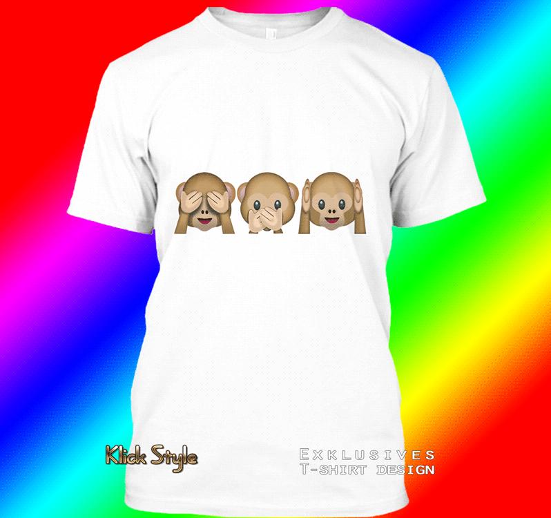 "T-Shirt ""Memes"" (Diverse Memes, weiß) : Größe:S, Motiv:3 Monkeys"