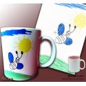 """Tasse """"Kinder Design"""" mit nachgearbeiteter Kinder-Kunst (versch. Farben)"""