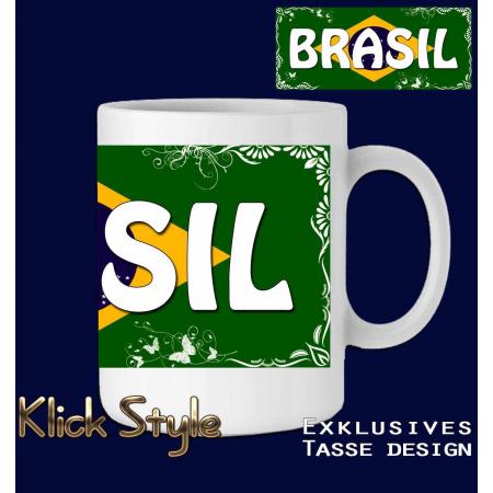 """Tasse Wort auf Flagge """"Brasilien"""" (mit oder ohne fluoreszierende Druck)"""