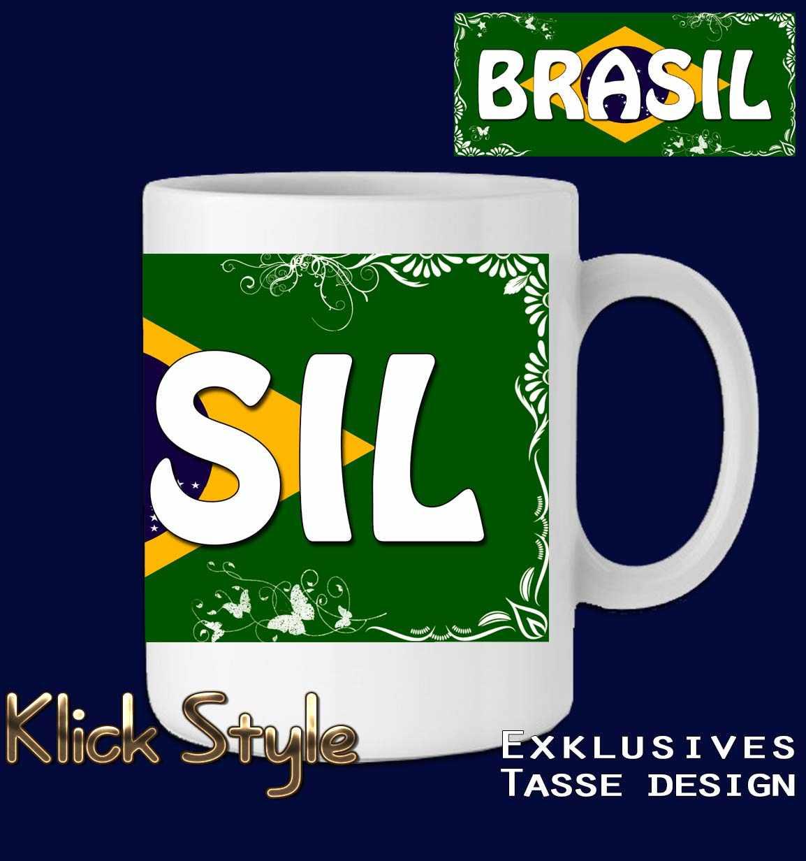 """Tasse Wort auf Flagge """"Brasilien"""" (mit oder ohne fluoreszierende Druck) : Druck:Einfach (Druck auf weiß)"""