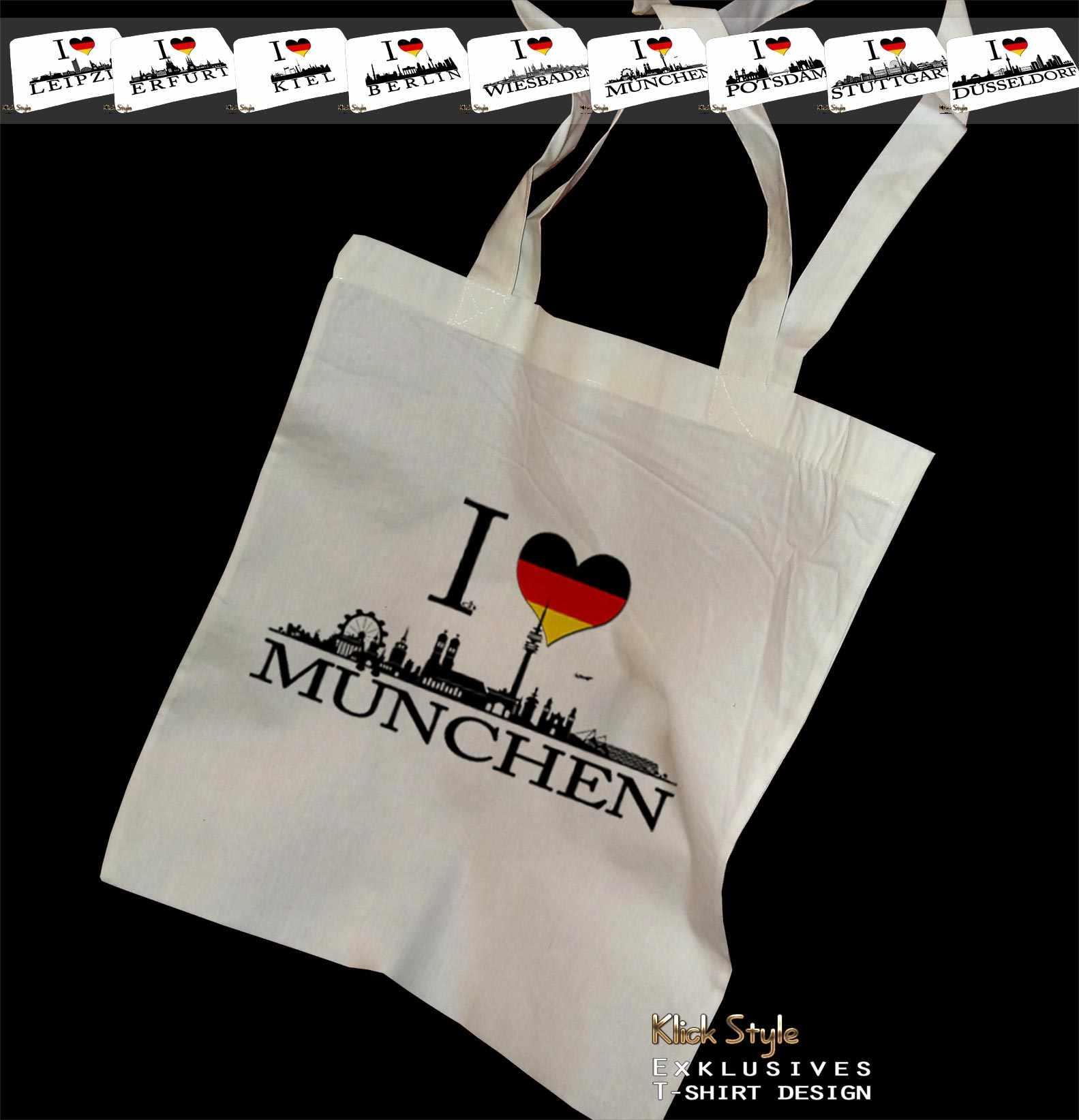 """Stoffbeutel """"Ich liebe [Diverse Städte]"""" : Motiv:Ich liebe München"""