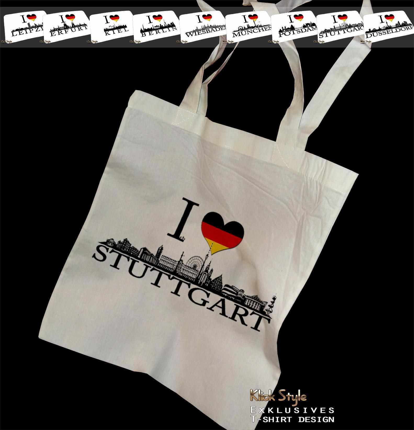 """Stoffbeutel """"Ich liebe [Diverse Städte]"""" : Motiv:Ich liebe Stuttgart"""