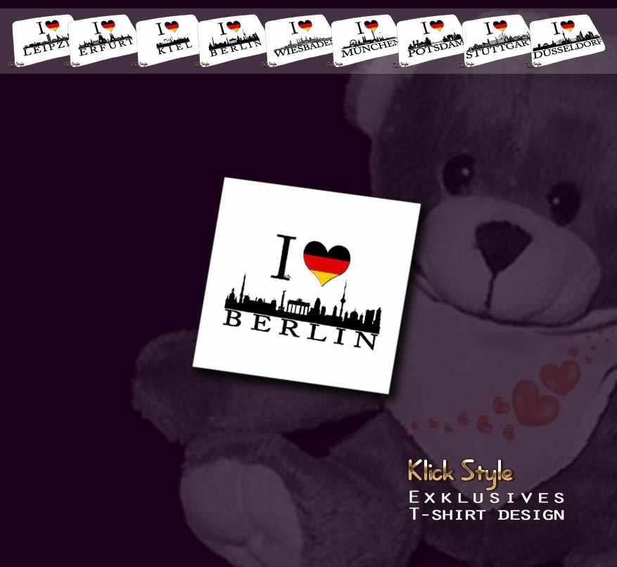 """Plüschtier - Teddy """"Ich Liebe [Diverse Städte]"""" : Motiv:Ich liebe Berlin"""