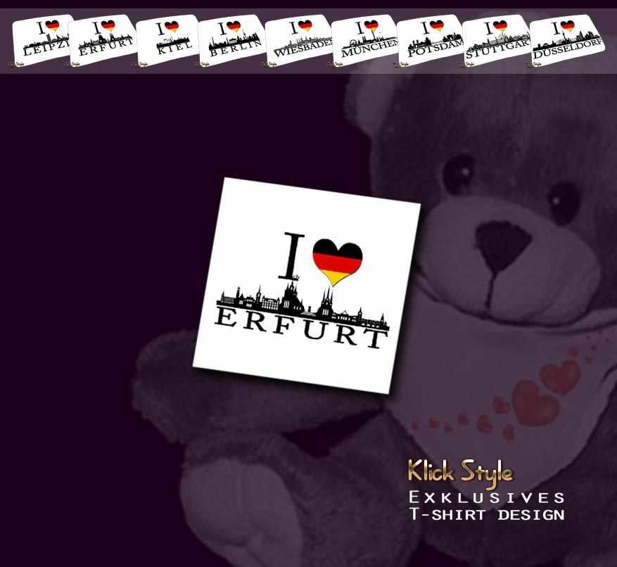 """Plüschtier - Teddy """"Ich Liebe [Diverse Städte]"""" : Motiv:Ich liebe Erfurt"""