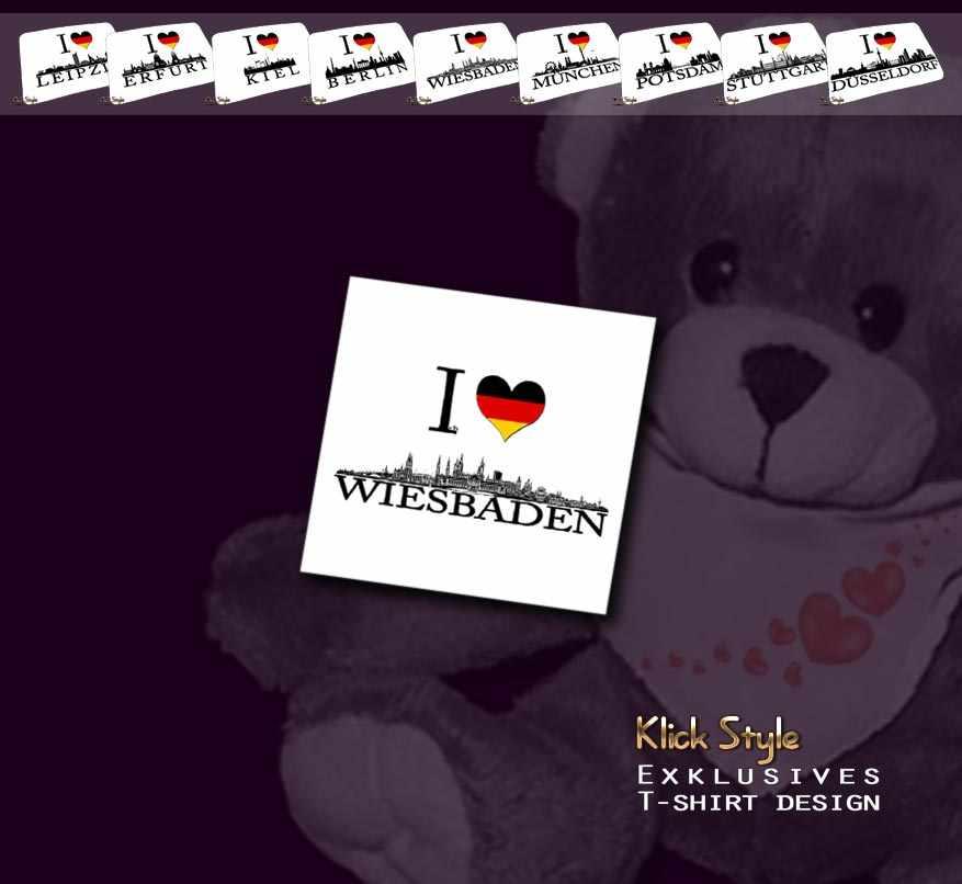 """Plüschtier - Teddy """"Ich Liebe [Diverse Städte]"""" : Motiv:Ich liebe Wiesbaden"""